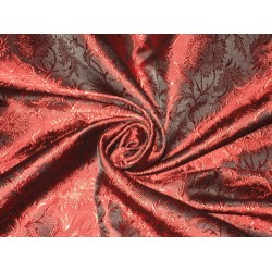 100% Pure Silk Brocade fabric Wine Red & Black Colour