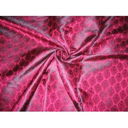 100% Pure Silk Brocade fabric Indian Pink & Purple 44""