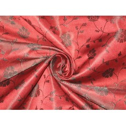 100% Pure Silk Brocade fabric Dark Indian Red & Black