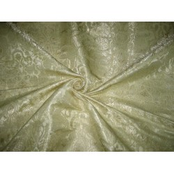 Pure Heavy Silk Brocade Fabric Butter & Metallic Gold