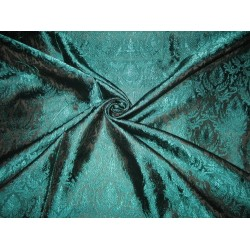 100% Pure Silk Brocade fabric Black & Teal color 44""