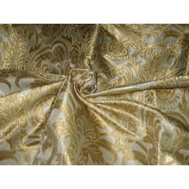 Pure Heavy Silk Brocade Fabric Ivory,Dull Gold & Gold