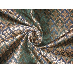 Pure Heavy Silk Brocade Fabric Metallic Gold,Green & Blue color