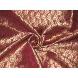 "SILK BROCADE FABRIC Purple & Gold 44"" Gorgeous"