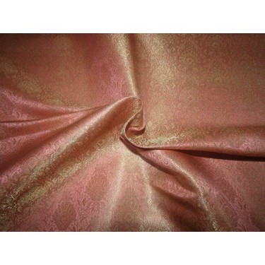 "Silk Brocade fabric  PEACHY PINK  Color floral X metallic gold 44""BRO718[4]"