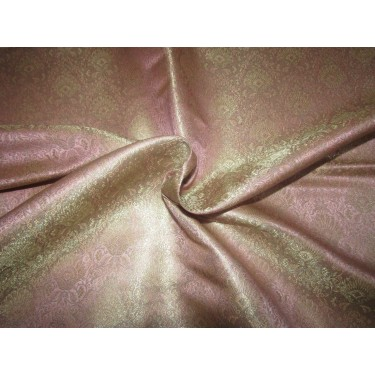 "Silk Brocade fabric pinkish mauve  Color floral  x metalic gold 44""BRO718[5] by the yard"