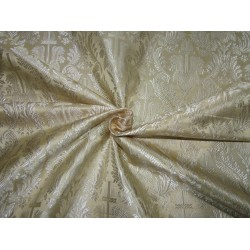 "Silk Brocade Vestment Fabric Golden Cream 44"" BRO174[4] by the yard"