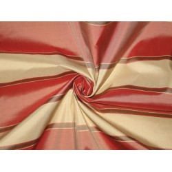 "SILK TAFFETA FABRIC  54"" ~Light Red,Olive green and Light Butter Gold colour stripes~-"