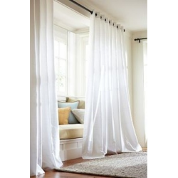 "100% SILK TAfFETA LINED GROMMET CURTAIN WHITE IVORY 100"" WIDE X 84"" LONG"