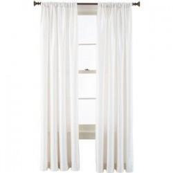 "100% SILK TAFFETA 3"" ROD TOP CURTAIN WHITE IVORY 51"" WIDE AND 90"" LONG"