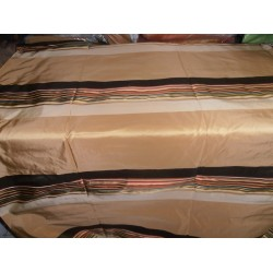 """100% Pure Silk Taffeta Fabric beige/gold with multi color stripes  54"""" wide sold by the yard"""
