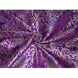 Heavy Silk Brocade Fabric purple royal blue x metallic gold color Bro564[3]