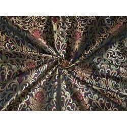 Heavy Silk Brocade Fabric green wine x metallic gold color Bro564[4]