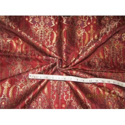 Heavy Silk Brocade Fabric maroon navy x metallic gold 44'' Bro570[2]