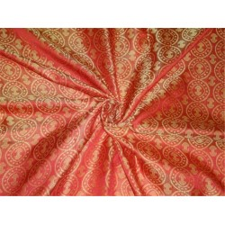 "100% Pure Silk Brocade fabric Reddish Orange X Yellow Color 44""Bro#464[5]"