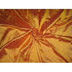 100% pure silk dupioni ikat fabric in golden mango