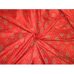 100% pure silk dupioni ikat fabric red x green color 44'' inches by the yard