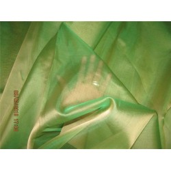 Silk Organza fabric green x gold color 54'' pkt #28[2]