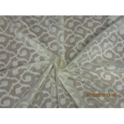 COTTON SILK BROCADE FABRIC NATURAL IVORY COLOR 44'' BRO567[4]