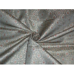 "HEAVY SILK BROCADE CLOUDY BLUE ,RED WITH METALLIC GOLD COLOR 44""BRO560[4]"