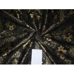 "HEAVY SILK BROCADE BLACK X METALLIC GOLD COLOR 44""BRO558[4]"