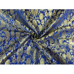 Heavy Silk Brocade Fabric royal blue x metallic gold color Bro566[1]