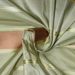 "6.40 YARDS  100% SILK TAFFETA satin stripes fabric shades of pastel olive gold and peach 54""TAFS164[7]"