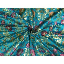 Heavy Silk Brocade Fabric blue, rust ,green x metallic gold color Bro565[3]