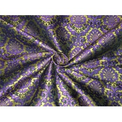 Heavy Silk Brocade Fabric purple green x metallic gold color Bro566[4]