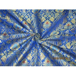 Heavy Silk Brocade Fabric royal blue turquoise blue x metallic gold Bro568[1]