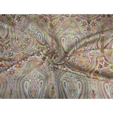 Heavy Silk Brocade Fabric beige orange yellow x metallic gold 36'' Bro569[3]