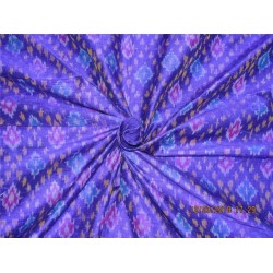 100% pure silk dupioni ikat fabric yellow royal blue x purple color 44''