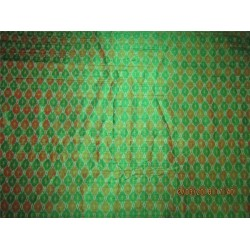 100% pure silk dupioni ikat fabric green x maroon color 44''