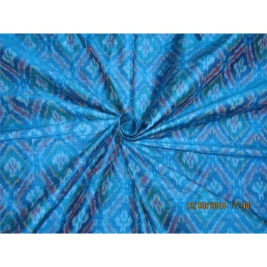 100% pure silk dupioni ikat fabric Turquoise blue color 44'' inches by the yard