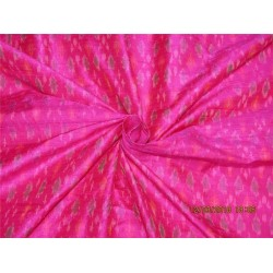 100% pure silk dupioni ikat fabric pink color 44''