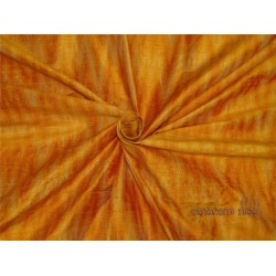 100% pure silk dupioni ikat fabric orange x burnt color 44''