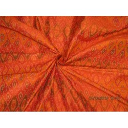 100% pure silk dupioni ikat fabric orange x green color 44'' inches by the yard