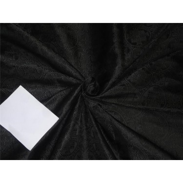 "Silk Brocade Vestment Fabric Black color 44"" bro559[1]"
