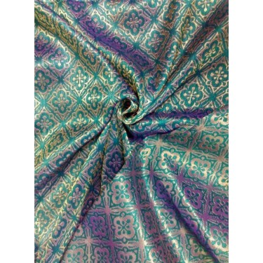 Reversible Brocade fabric kingfisher green x metallic gold color 56'' BRO562[2]