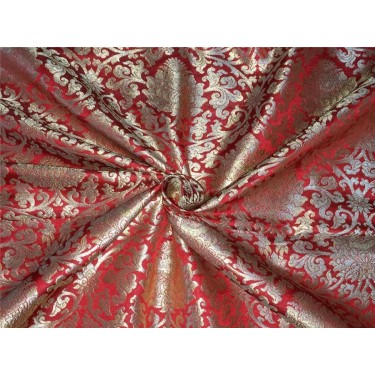 Heavy Silk Brocade Fabric red x metallic gold color Bro565[1]