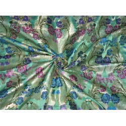 Heavy Silk Brocade Fabric green pink x metallic gold color Bro565[2]
