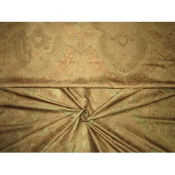 Silk taffeta jacquard fabric REVERSABLE GOLDEN BROWN DAMASK