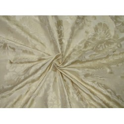 Silk taffeta jacquard fabric cream DAMASK TAFJ28c single length 3.70yds @ 169$