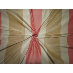 "100% SILK TAFFETA fabric  stripes beige gold ,Caramel gold AND salmon pink , 54""TAFS163[5]"