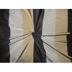 "100% silk taffeta black grey and gold  stripe fabric 54"" SINGLE LENGTH 2.50 YDS TAFS164[2]"