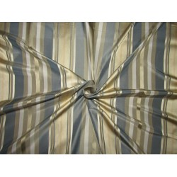 "100% SILK TAFFETA stripes beige gold ,blue and cream stripe fabric 54""TAFS164[3]"