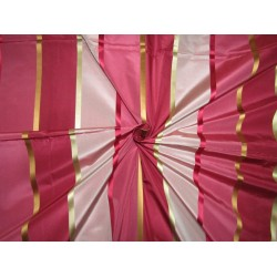 "100% SILK TAFFETA satin stripes fabric shades of dusty pink to pinkish reds54""TAFS164[5]"