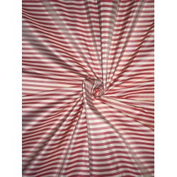 """100% SILK TAFFETA Fabric Red & Cream color 4MM STRIPES afS118 54"""" wide sold by the yard"""