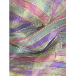 "Exclusive organza silk  fabric  multi color stripe  selvidge to selvidge vertical  44""   id=9809"