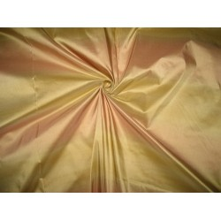 Silk Taffeta Fabric Light Peachy Pink & Gold stripes